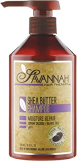 Savannah Hair Therapy Shampoo - Moisture Repair Treatment - Shea Butter, Cotton and Silk Protein and Vitamin B6 - For Dry and Damaged Hair. Sodium Chloride and Sulfate Free. 16.9 oz