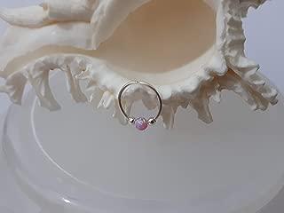 Pink Opal Piercing,Silver Piercing Size 8,Piercing 22gauge,Tiny Piercing Hoop