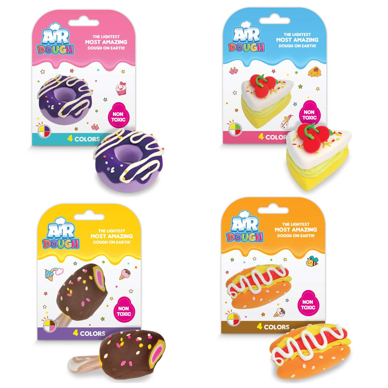 Air Dough Foods 4-Pack Modeling Compound Scentco Ultra Lightweight Non-Toxic