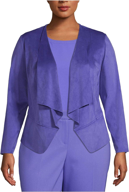 Anne Klein Womens Plus Faux Suede Professional Jacket