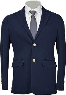 Men's Gold 2 Button 100% Cotton Soft Blazer Jacket Navy Blue