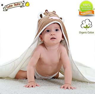 YAMOM Organic Hooded Baby Towel Bathing Cotton Blanket Washcloth Luxury Soft Comfortable Long Cows for Newborns Infants Toddlers Kids Boys and Girls (White) …