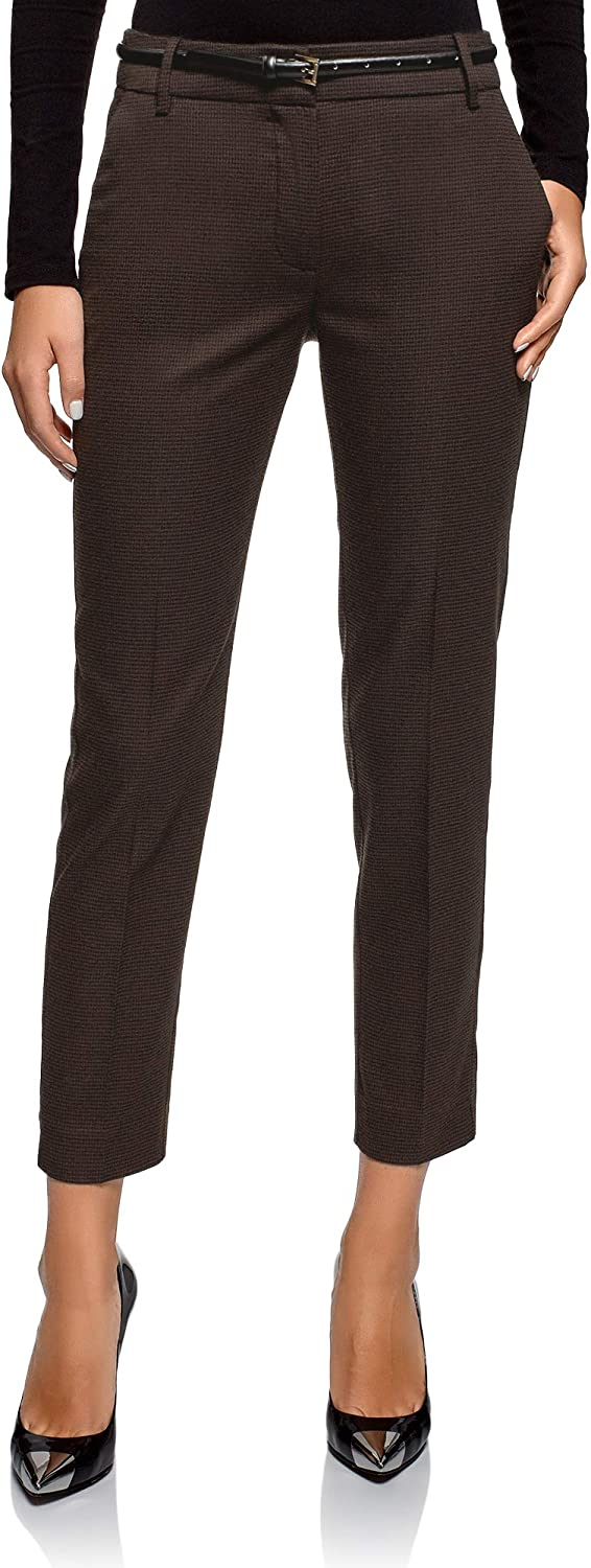 Oodji Collection Women's Heavyweight Houndstooth Trousers
