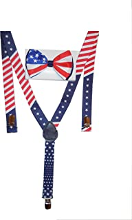 Men's Unisex Awesome PATRIOTIC USA FLAG Suspenders And Matching Bow tie Set