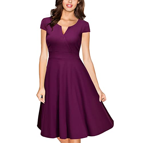 63a538c5025 Miusol Women s 1940 s Rockabilly V Neck Cocktail Evening Party Dress