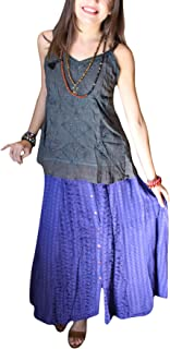 Mogul Interior Women's Blue Skirt Button Down Embroidered Checked Print Boho Chic Gypsy Skirts M