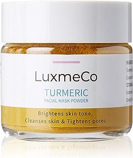 LuxmeCo All Natural Skin Brightening Turmeric Facial Mask and Scrub Powder with Betonite Clay, Lemon, Honey & Coconut Powd...