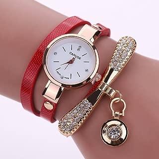 Chinatera Fashion Luxury Rhinestone Bracelet Women Quartz Dress Watch (Red)