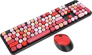 パンクキーボードマウスセット5キーワイヤレスマウスワイヤレスレトロゲームキーボードXP / win7 / win8 / win10用(SWEET lipstick mixed color version)