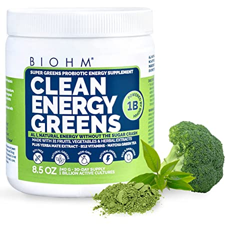 BIOHM Clean Energy Greens - 30 Servings - with Probiotics, Super Greens Superfood, 31 Natural Fruit, Vegetable and Herbal Extracts - All Natural Energy Powder Without Sugar Crash - Non-GMO