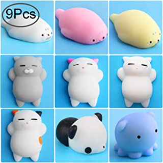 Outee Mochi Squishies Cat Toys, 9 Pcs Squishies Animal Stress Relief Toys Mochi Cat Squishies Stress Cat Squishies Toys Stress Mini