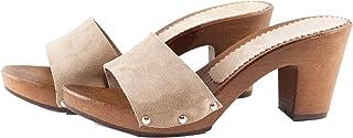 Silfer Shoes - Zueco de piel de ante color polvo, art. Noemi - Ideal también para estar en casa