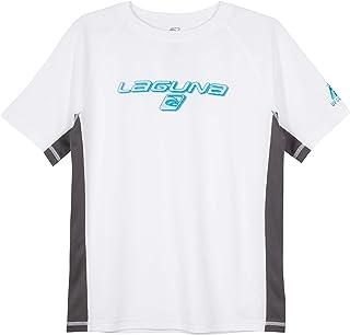 LAGUNA Boys Crewneck Short Sleeve Loose Fit Rashguard Swim Sun Tee Shirt, UPF 50+, White/Grey/Blue, 18/20