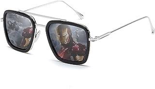 Retro Pilot Sunglasses Square Metal Frame for Men Women Sunglasses Classic Downey Tony Stark Gradient Lens