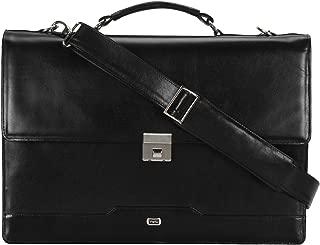 Lawyer's briefcase (black). Full grain, Buffalo Leather. Brass hardware, waterproof lining.