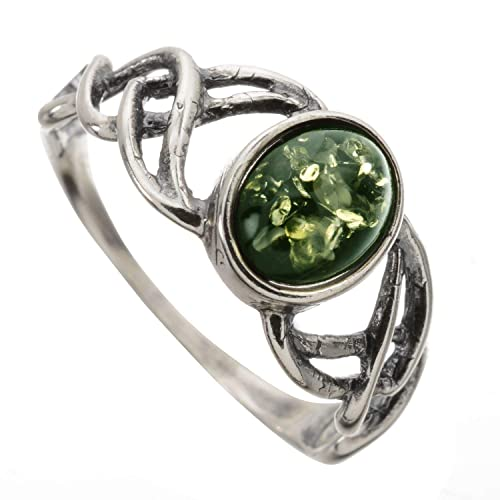 1245f4713 HolidayGiftShops Sterling Silver and Baltic Green Amber Ring Celtic Knots