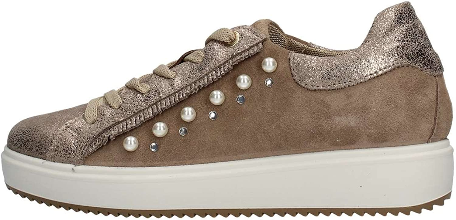 IGI&CO shoes woman low sneakers with internal wedge 1148733 BEIGE