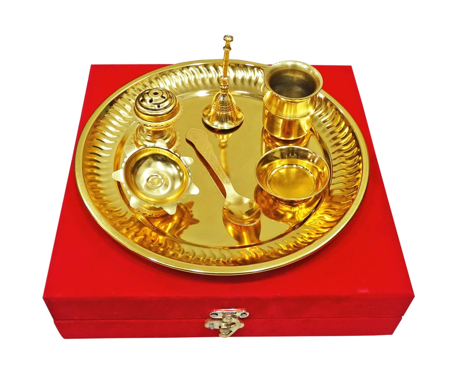 Peegli Gold Plated Pooja Thali Set 7 Pieces with Red Velvet Box Indian Occasional Gift Puja Thali 8.5 Inch Traditional Handcrafted Thali Set for Pooja Arti