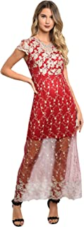Women's Elegant Burgundy Gold Floral Embroidered Lace Party Cocktail Long Dress