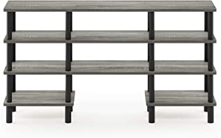 Furinno Turn-N-Tube 4-Tier Multipurpose Wide Shelf TV Stand, French Oak Grey/Black