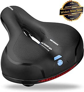 SGODDE Comfortable Bike Seat- Replacement Wide Bicycle Saddle Memory Foam Padded Soft Bike Cushion with Dual Shock Absorbing Rubber Balls Universal Fit for Indoor/Outdoor Bikes with Reflective Strip