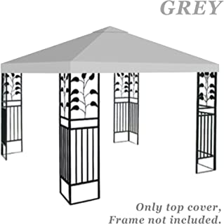 BenefitUSA G245-GREY Top Patio Pavilion Sunshade Polyester Single Tier Replacement Gazebo Canopy Cover, 10