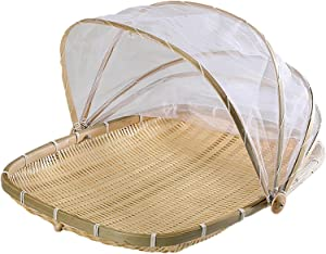 AKOYA Wicker Collection Food Serving Tent Basket - Bamboo Food Tent Baskets Hand-Woven Picnic Basket Kitchen Serving Food Cover Bug Proof Mosquitoesor for Bread Vegetable Fruit