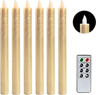 DRomance LED FlamelessTaper Candles Flickering with Remote and Timer, Battery Operated Taper Candles Gold Real Wax Christmas Decoration(0.78