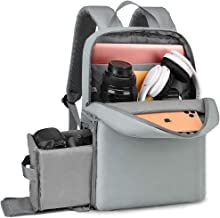 """CADeN Camera Backpack Bag with Laptop Compartment 14"""", Waterproof DSLR Case Backpack with Side Access and Tripod Holder for Photograph Mirrorless Cameras Canon Nikon Sony Pentax Lens (Light Grey)"""