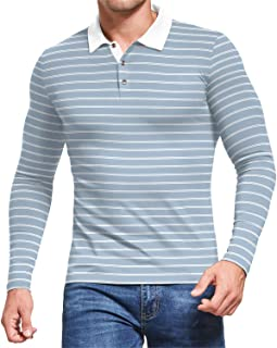 Sponsored Ad - MLANM Men's Short/Long Sleeve Stripe Polo Shirts Casual Slim Fit Basic Designed Cotton Shirts