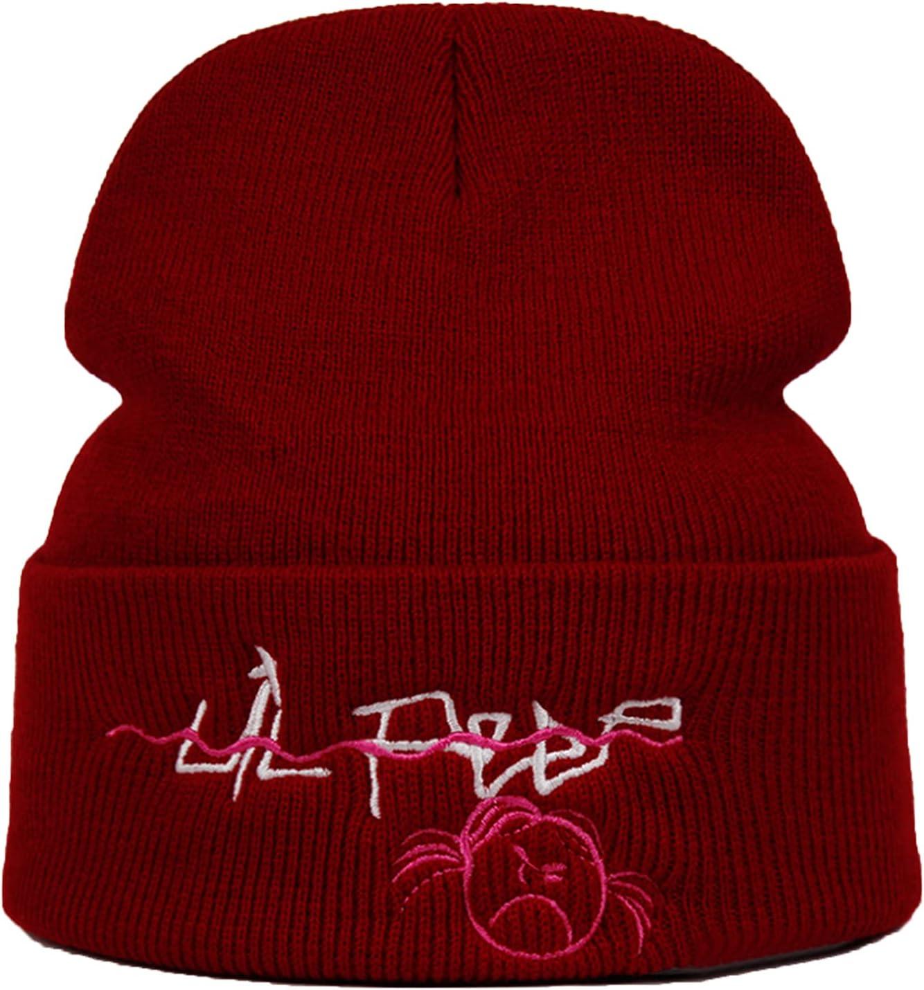 Lil Peep Embroidery Beanie Knitted Hat lil.peep Love Knit Cap Skullies Warm Winter Ski Hip Hop Hat Outdoor Hats-Burgundy