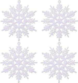 URATOT 48 Pieces White Christmas Glitter Snowflake Ornaments Hanging Snowflake Christmas Tree Decorations for Christmas Decoration, 4 Inches (White, 48)