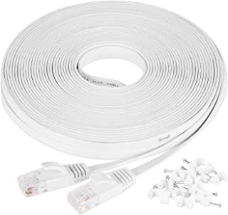 Ethernet Cable Cat6 30m / 100ft White - Flat Network LAN Patch Cords – Solid Cat6 High Speed Computer Internet Wire with C...