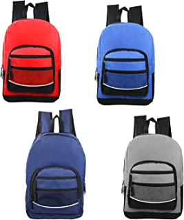 "17"" Wholesale Classic Sport Backpacks in 4 Assorted Colors - Bulk Case of 24 Bookbags"