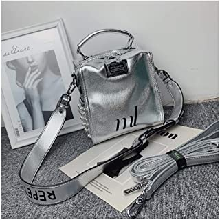 HK Travel Backpack, Student Backpack Shoulder Bag, Go Out to Play Shoulders, High-end Western-Style Texture Silver Bag Slung 2019 New Female (Color : Silver)