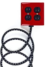 Fire Resistant Bottle Rocket Red Exto 4-Outlet Cast-Aluminum Powder Coated & Over-braided Extension Cord