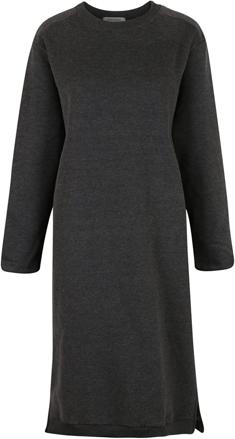 Ililily Women's Soft Fleece Lined Crewneck Midi Long Sweatshirt Sweater Dress