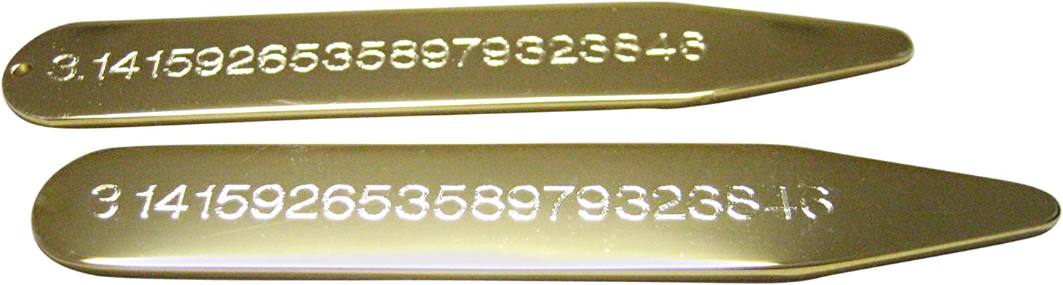 Gold Toned Etched Mathematical Pi Number Collar Stays