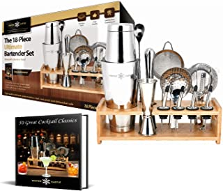 Cocktail Shaker Set by WinterCastle: The 18 piece Ultimate Bartender Set: Boston Shaker, Jigger, Muddler, Bar Spoon, 3 Strainers, 4 Liquor Pourers with Caps, Ice Tong, Bamboo Stand, FREE Recipe EBook