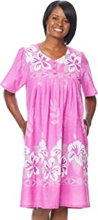 Womens Patio Dress Lounger Floral Print Border Short Sleeve and Pockets