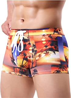PASATO Sexy Men's Printing Swimming Trunks Beachwear Underwear Surf Boardshorts