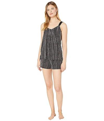 Donna Karan Modal Spandex Jersey Tank Boxer Pajama Set (Black Stripe) Women