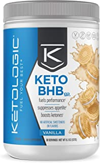 KetoLogic Keto BHB - Exogenous Ketones Supplement | Supports Ketosis & Weight Management, Increases Energy & Focus | Low Carb, Electrolytes, Beta-Hydroxybutyrate BHB Salts | Vanilla - 30 Servings