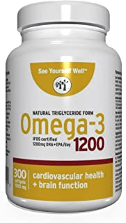 Omega 3 - Natural State: Ultimate Strength Omega 3 Fish Oil Softgels, 1200 (300 Count). High EPA & DHA Essential Fatty Acids, Supports Heart, Brain, Joints and Immune System. No Fishy Aftertaste