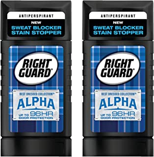 Right Guard Antiperspirant - Best Dressed Collection - Alpha - Invisible Solid - Net Wt. 2.6 OZ (73 g) Per Stick - Pack of 2 Sticks