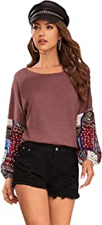 SheIn Women's Contrast Tribal Sweater Colorblock Long Sleeve Pullovers Knit Jumper
