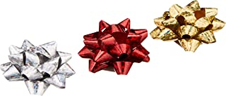 Eurowrap X-25464-B Metallic Bows, Red/Gold/Silver (Pack of 16)
