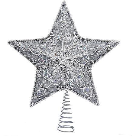 Kurt Adler 12-Inch Champagne and Silver Glitter Moravian Star Treetop