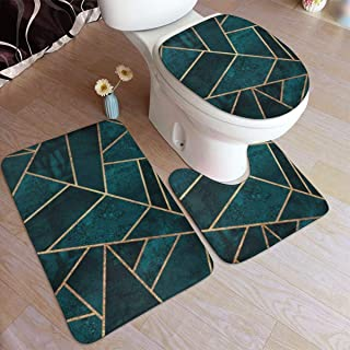 Abstract Nature Emerald Green Bathroom Mat Sets 3 Piece/Set Rugs Memory Foam Mat Set Matches Anti-Skid Toilet Seat Cover Bath Mat Lid Cover