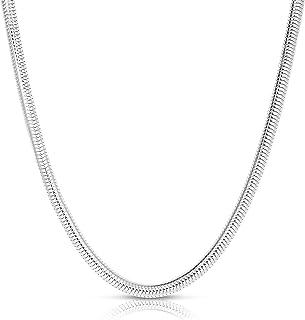 ARGENTO REALE Collar de cadena de serpiente de plata de ley 925 de 2 mm a 5 mm, redondo, flexible, cadena de serpiente ita...
